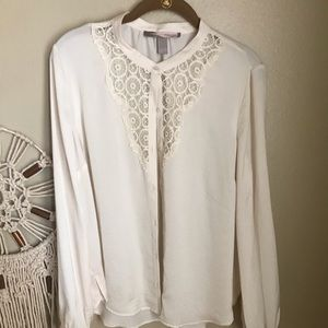 Forever 21 silk cream lace button down shirt